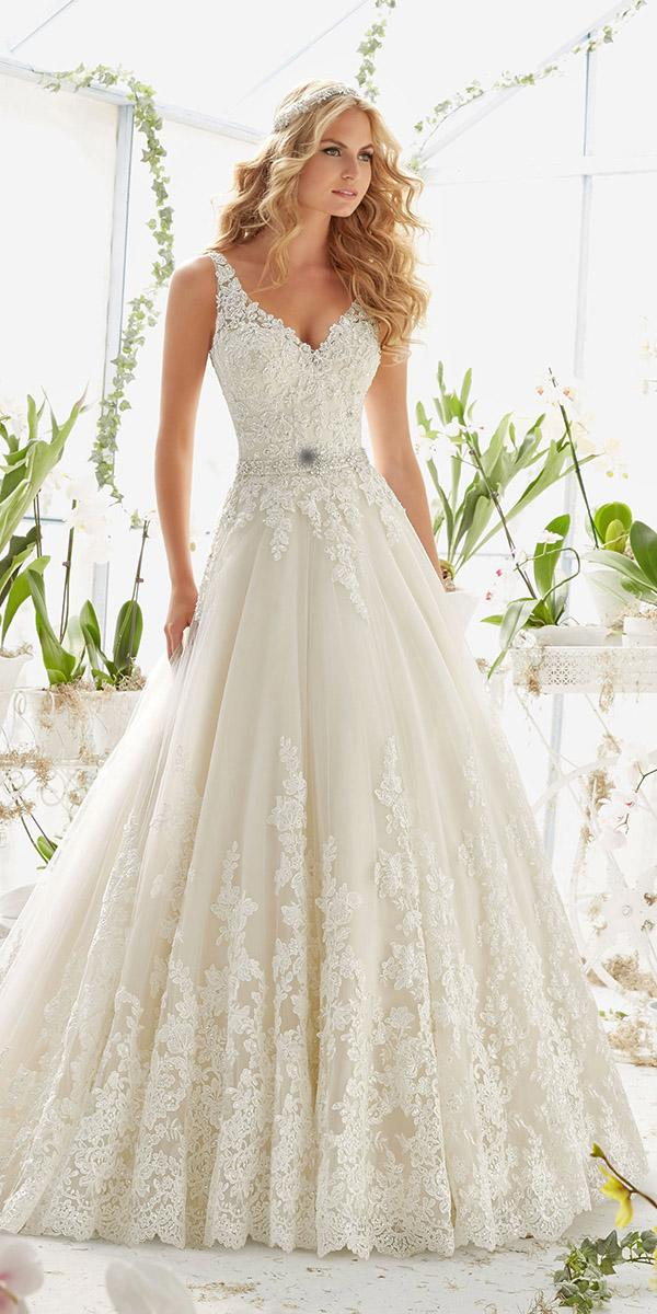 lace aline v neck wedding dresses with belt mori lee