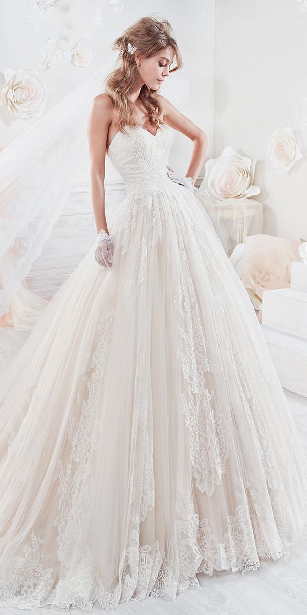 pink ball gown with embroidered lace sweetheart nicole spose wedding dresses