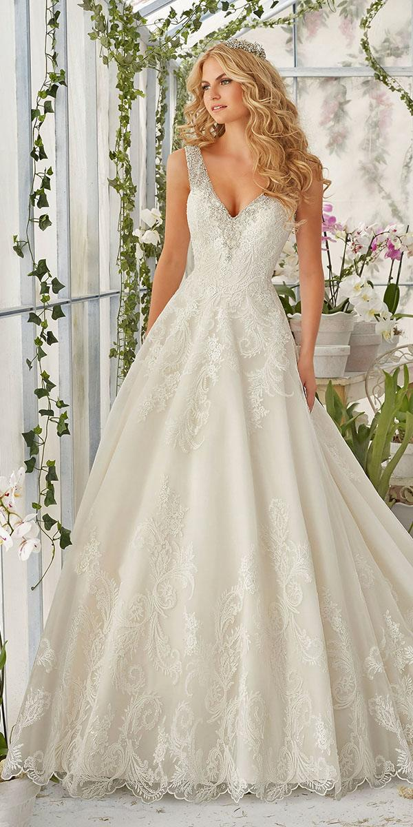 lace aline with v neck mori lee wedding dresses