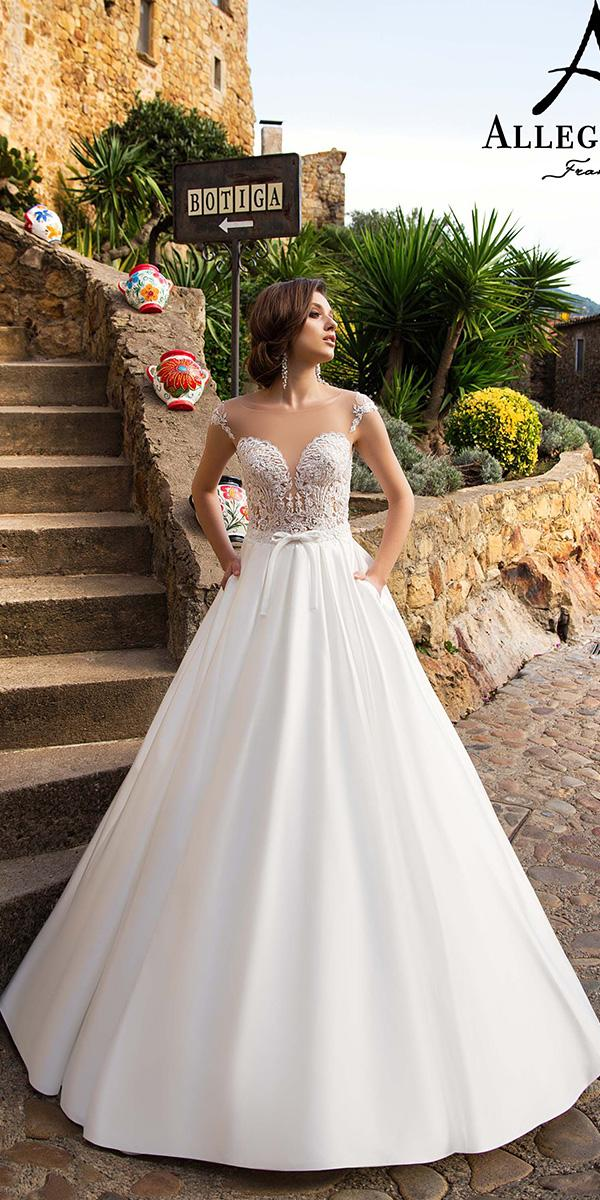 aline with sweetheart and off shoulder strap allegresse wedding dresses