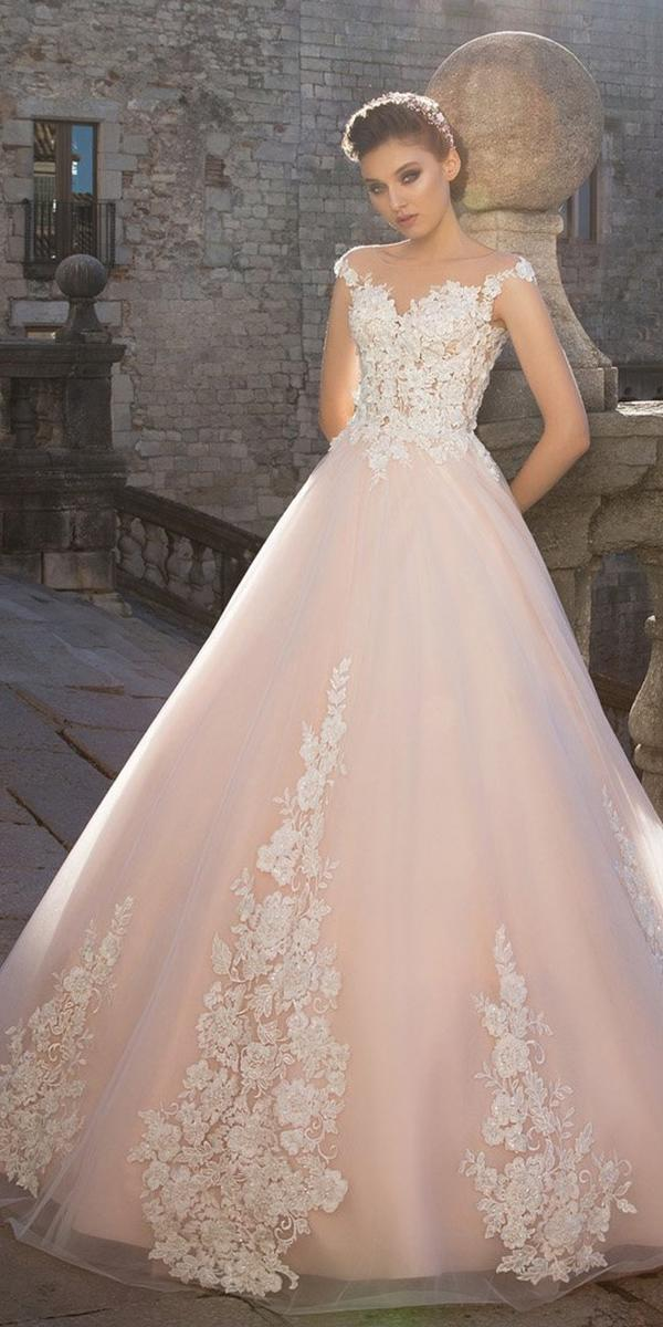 colored blush aline with lace off shoulder sleeves wedding dresses allegresse