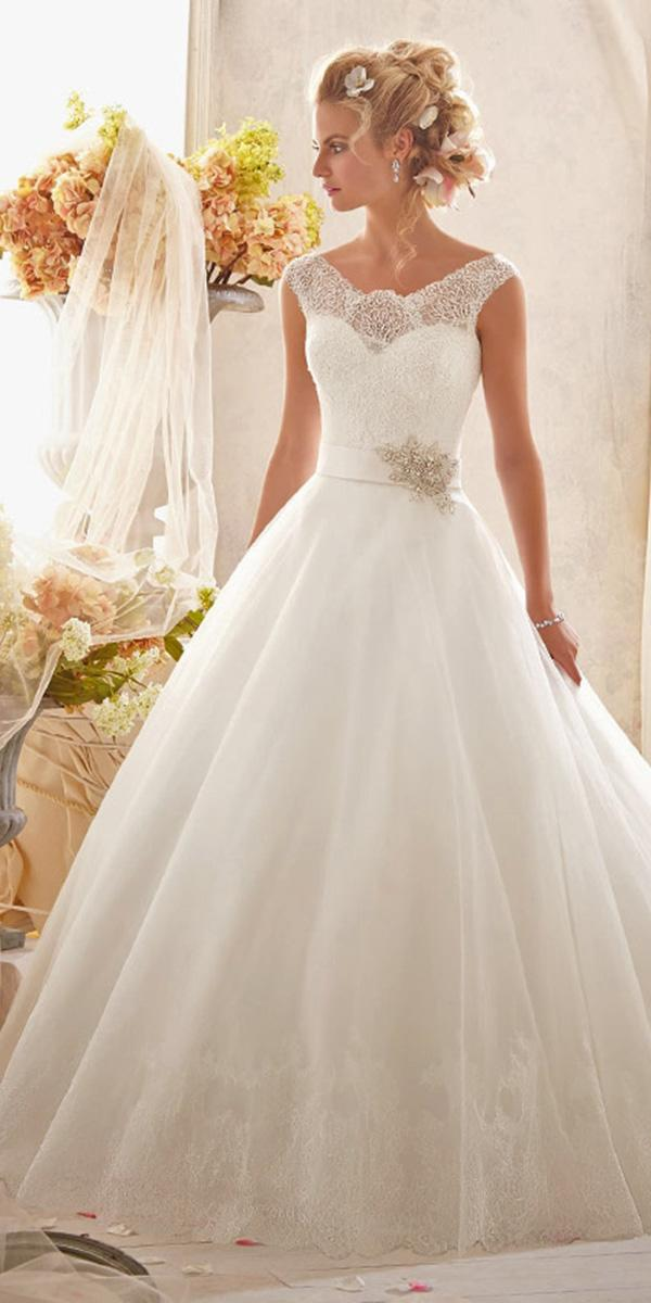 aline with lace and illusion neckline mori lee wedding dresses