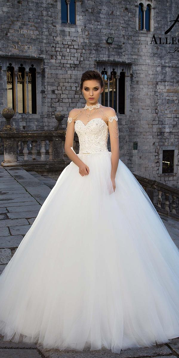 ball gown with sweetheart and with beads and lace allegresse wedding dresses