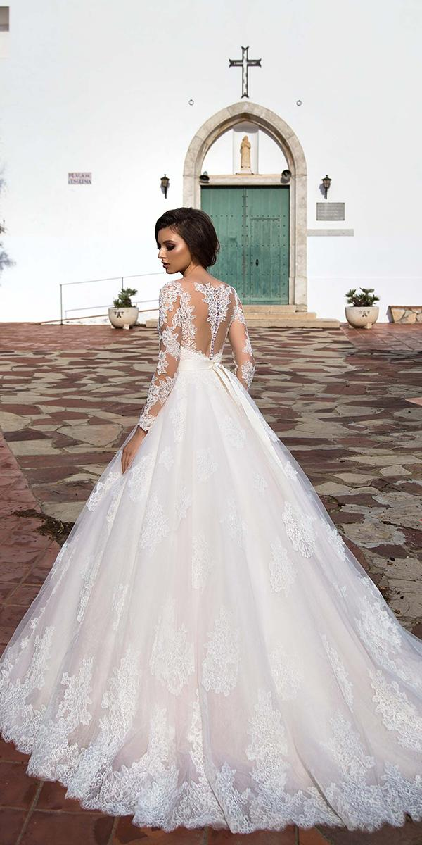 lace ball gown with long sleeves and train allegresse wedding dresses