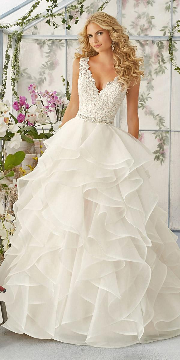 ruffle with crystal belt and v neck mori lee wedding dresses