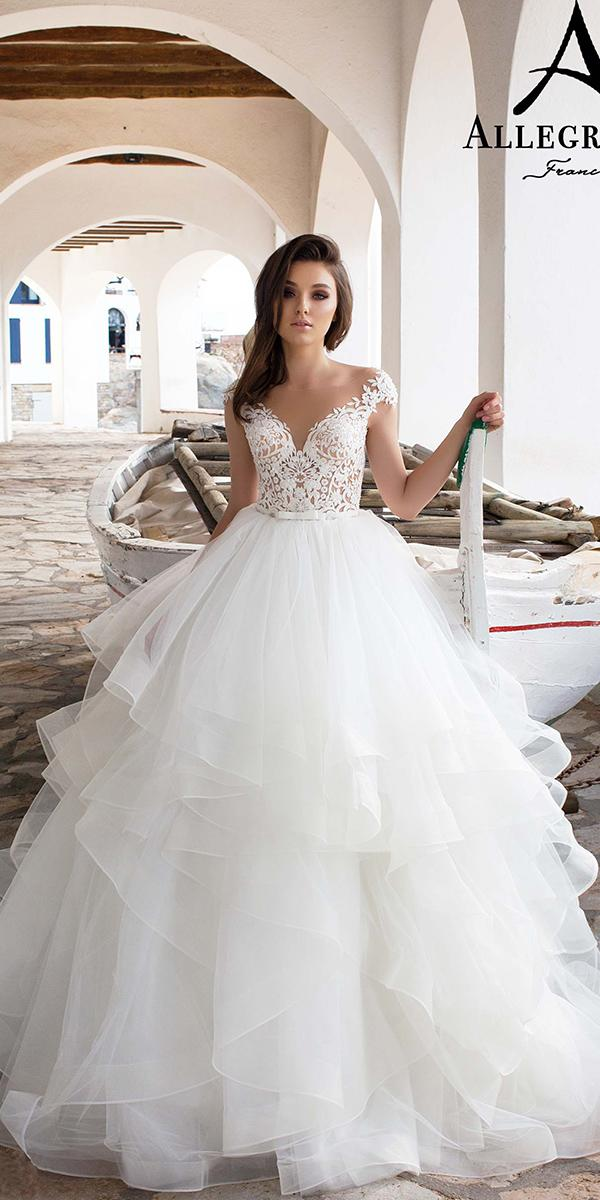 ball gown with lace off shoulder strap and ruffle allegresse wedding dresses