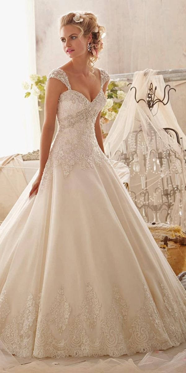 lace aline with off shoulder neckline mori lee wedding dresses