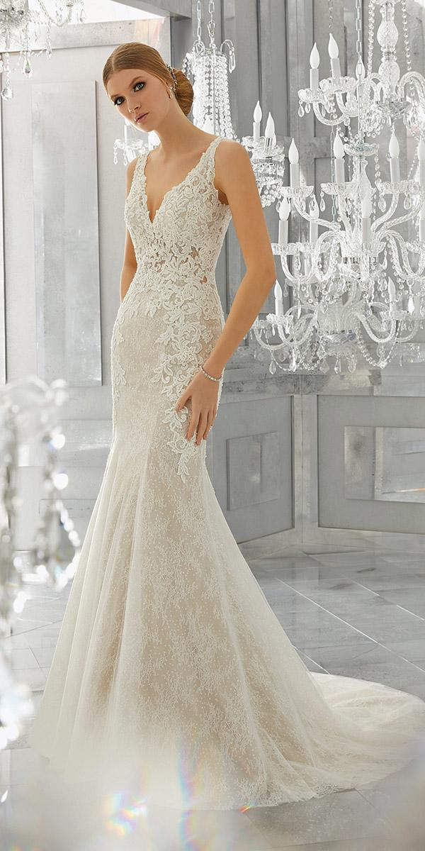 mermaid wedding dresses full lace with v neckline mori lee