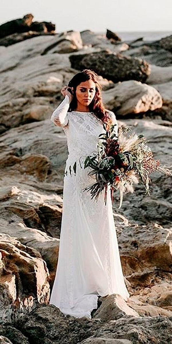 a line beach bohemian wedding dresses with long sleeves grace loves lace