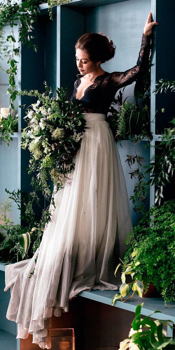 a line black v neck colored wedding dresses with long sleeves sweet caroline