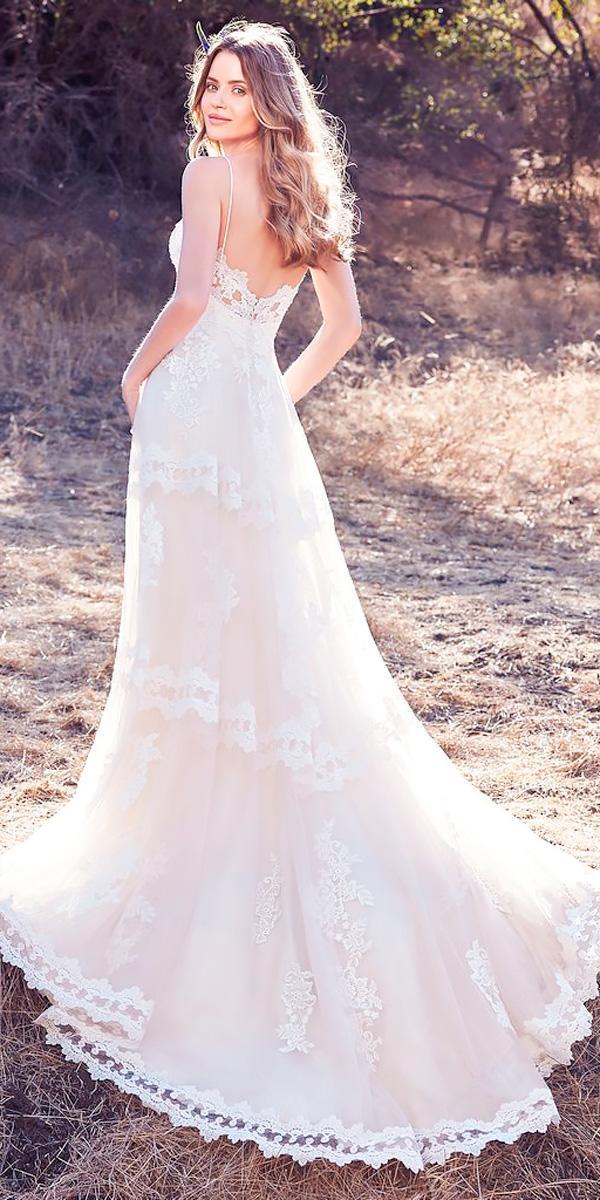 a line boho lace spaghetti straps sweetheart neckline wedding dresses 2018 maggie sottero