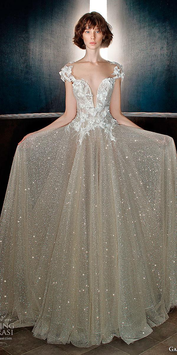 a line cap sleeves sweetheart neckline embellished bodice wedding dresses with glitter skirt galia lahav