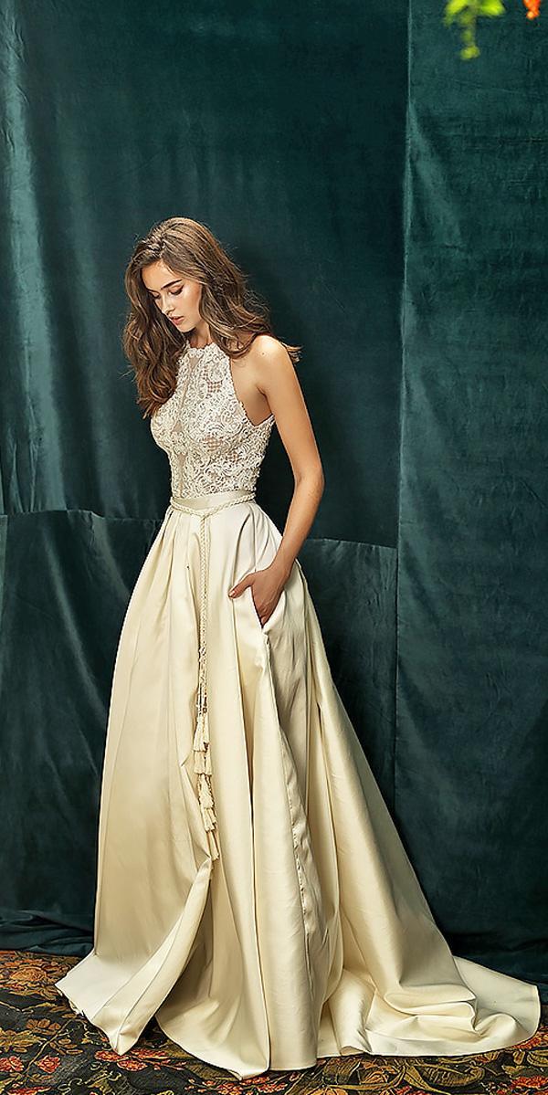a line champagne halter ivory wedding dresses lihi hod