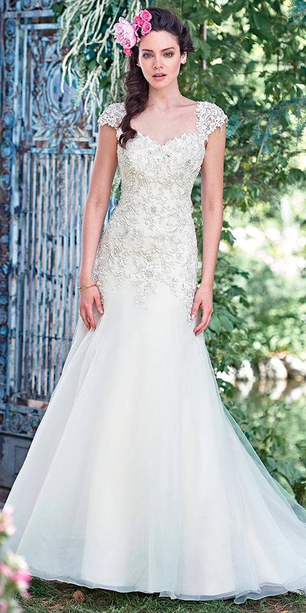 a line crystal beaded lace bodice sweetheart neck with cap sleeves wedding dresses maggie sottero
