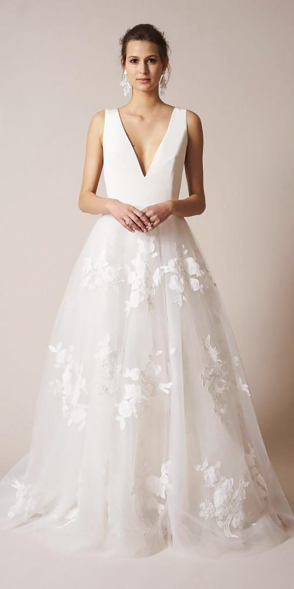 a line deep v neckline floral wedding dresses sachin babi