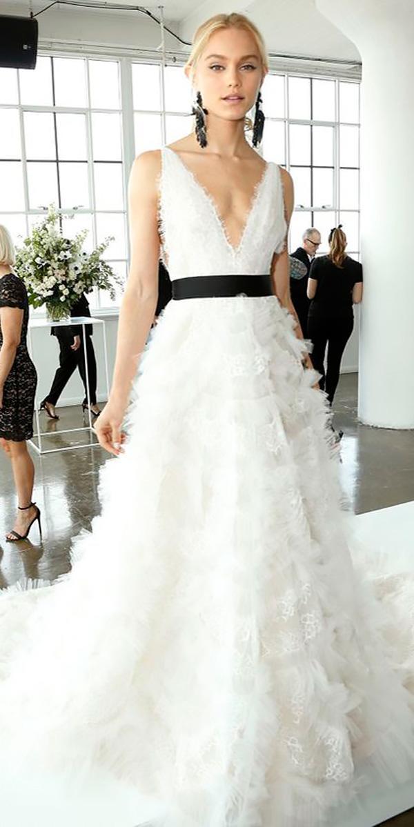 a line deep-v neckline wedding dresses 2018 with black ribbon marchesa