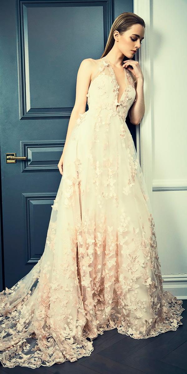 a line floral v neckline wedding dresses 2018 romona keveza