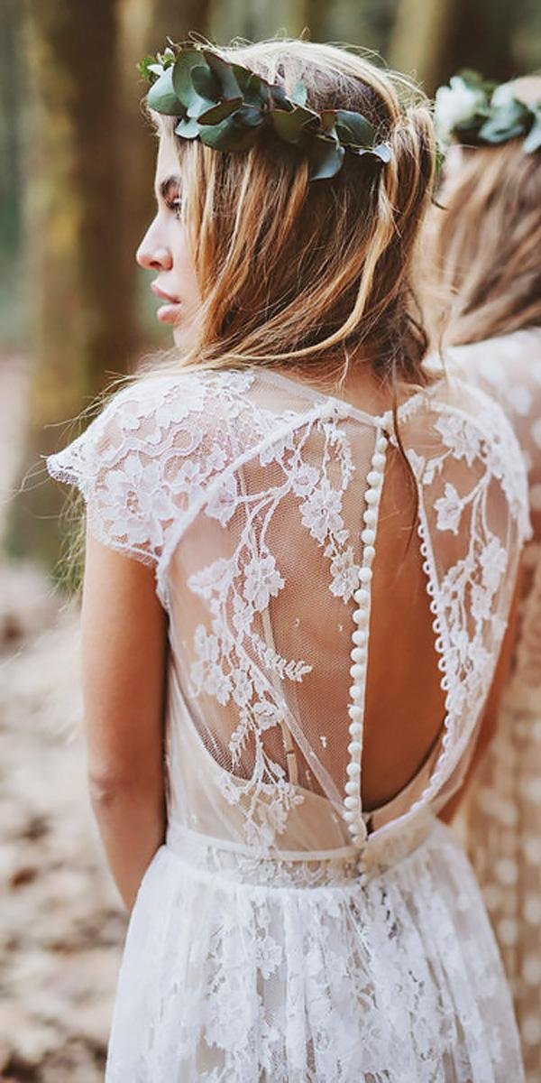 a line lace cap sleeve open back bohemian wedding dresses serafin castillo