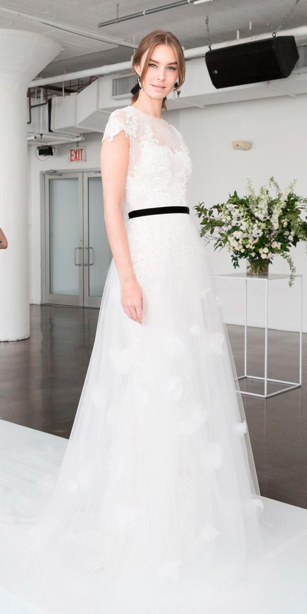 a line lace elegant wedding dresses with cap sleeves and black ribbon marchesa