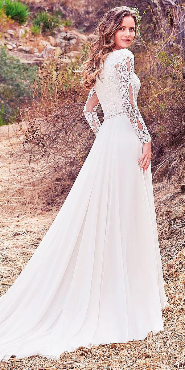 a line lace ivory wedding dresses with long sleeves maggie sottero