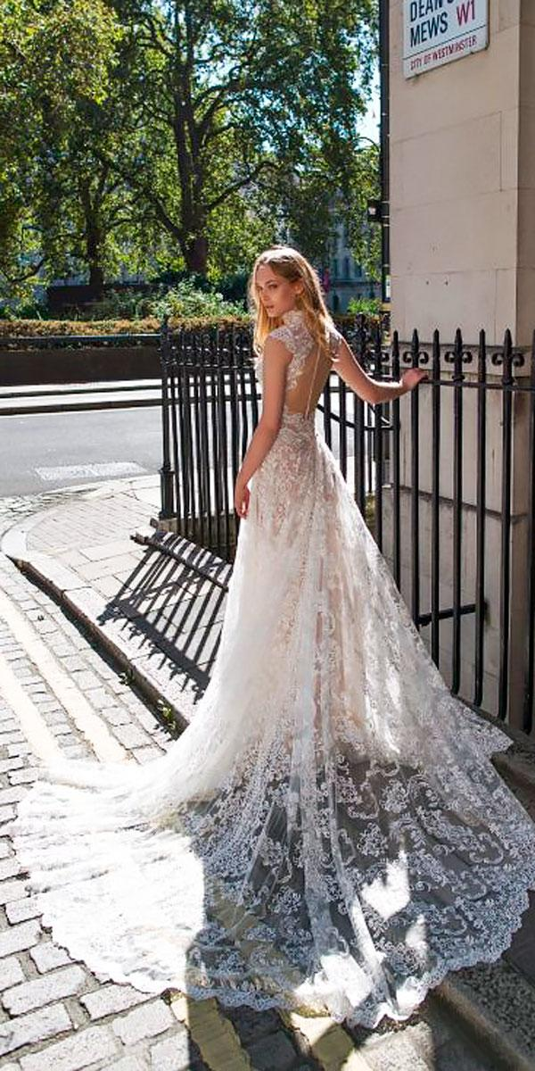 a line lace open back high neck elegant wedding dresses with train riki dalal