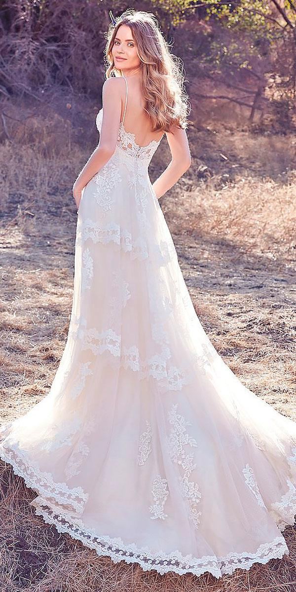 a line lace open back ivory wedding dresses maggie sottero
