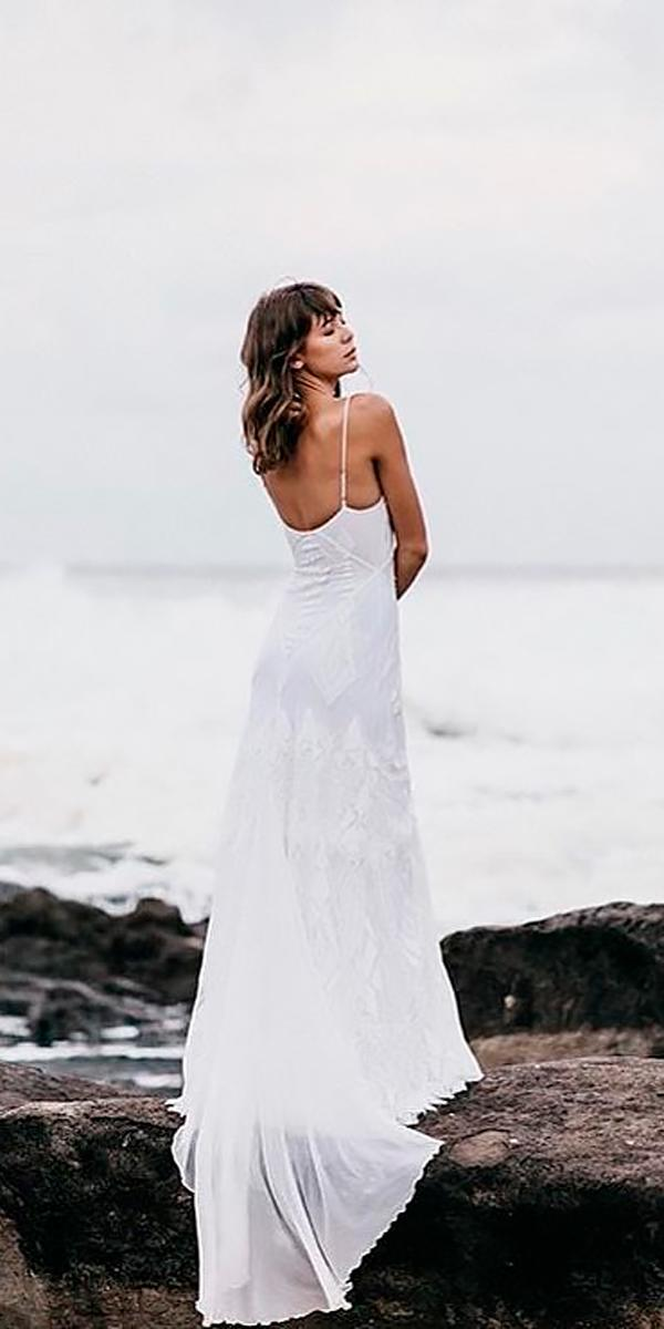 a line lace spaghetti strap flowy bohemian wedding dresses grace loves lace