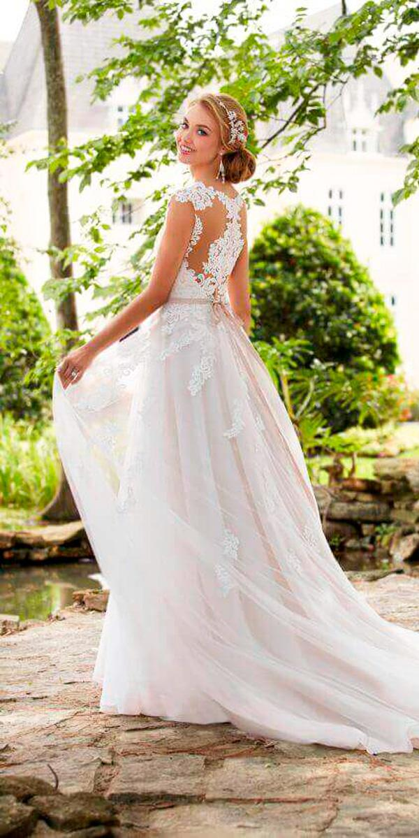 a line lace with cap sleeve ivory wedding dresses stella york