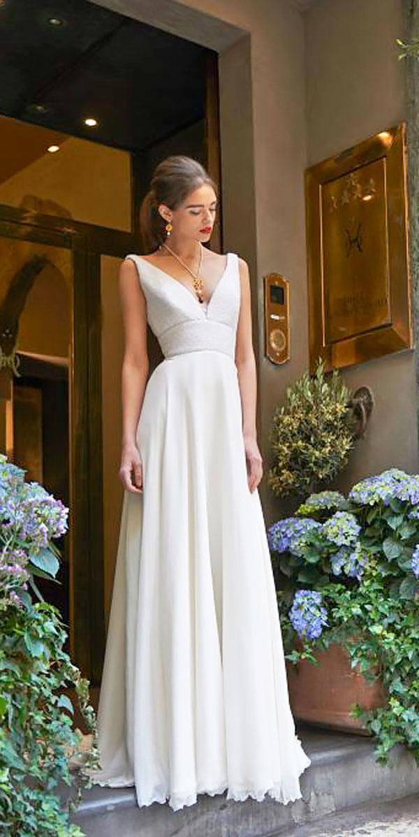 simple a line natural waist v neckline elegant wedding dresses stephanie allin
