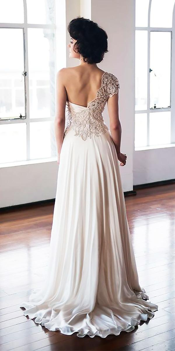 vintage one shoulder with beaded embroidery open back wedding dress neckline anna schimmel