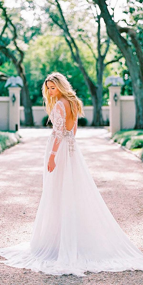 a line open back with lace sleeves wedding dresses zanzis bridal