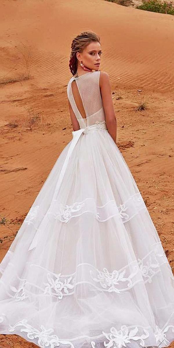 a line sleeveless with keyhole back and train armonia wedding dresses