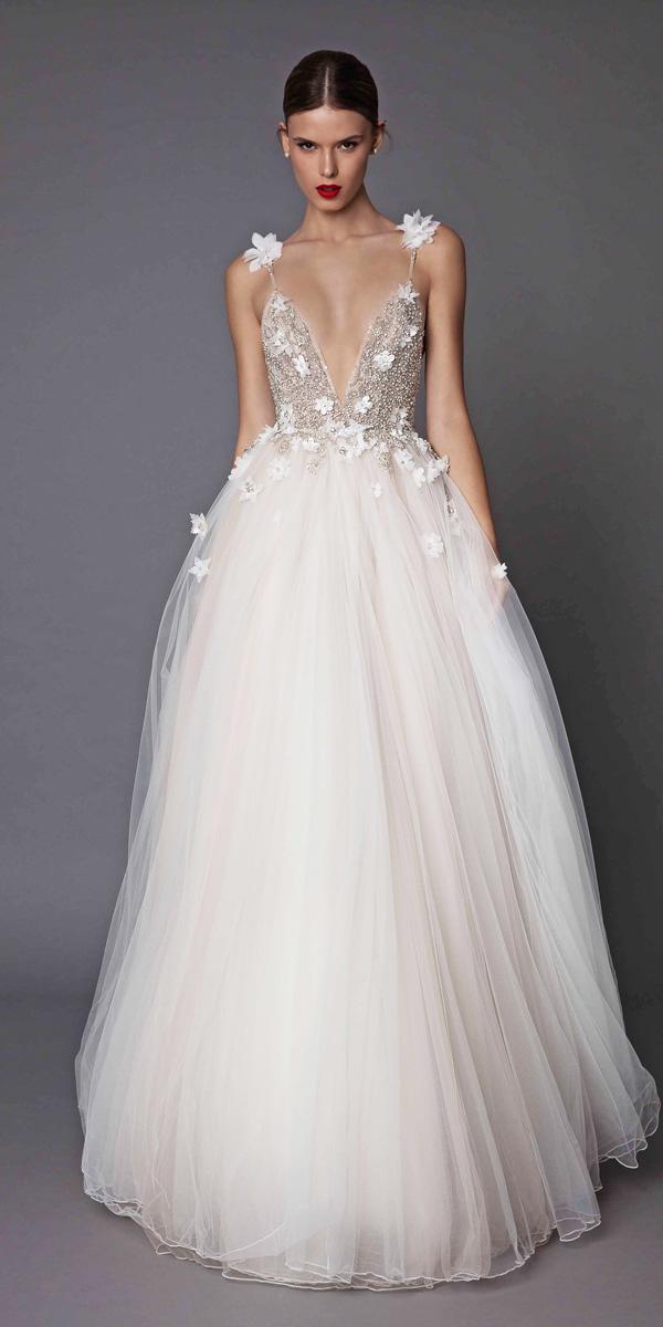 a line spaghetti strap v neckline floral wedding dresses berta