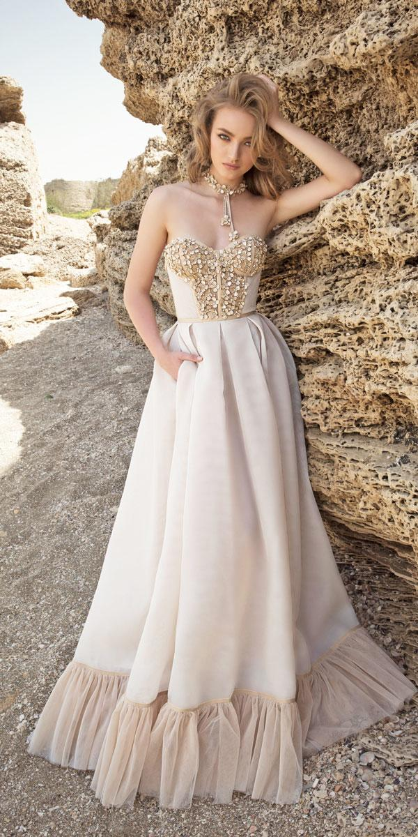 a line strapless sweetheart wedding dresses with beaded body dany mizrachi