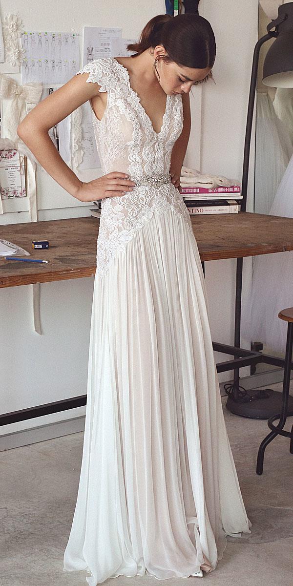 a line v neck with cap sleeves vintage lace wedding dresses designers lihi hod