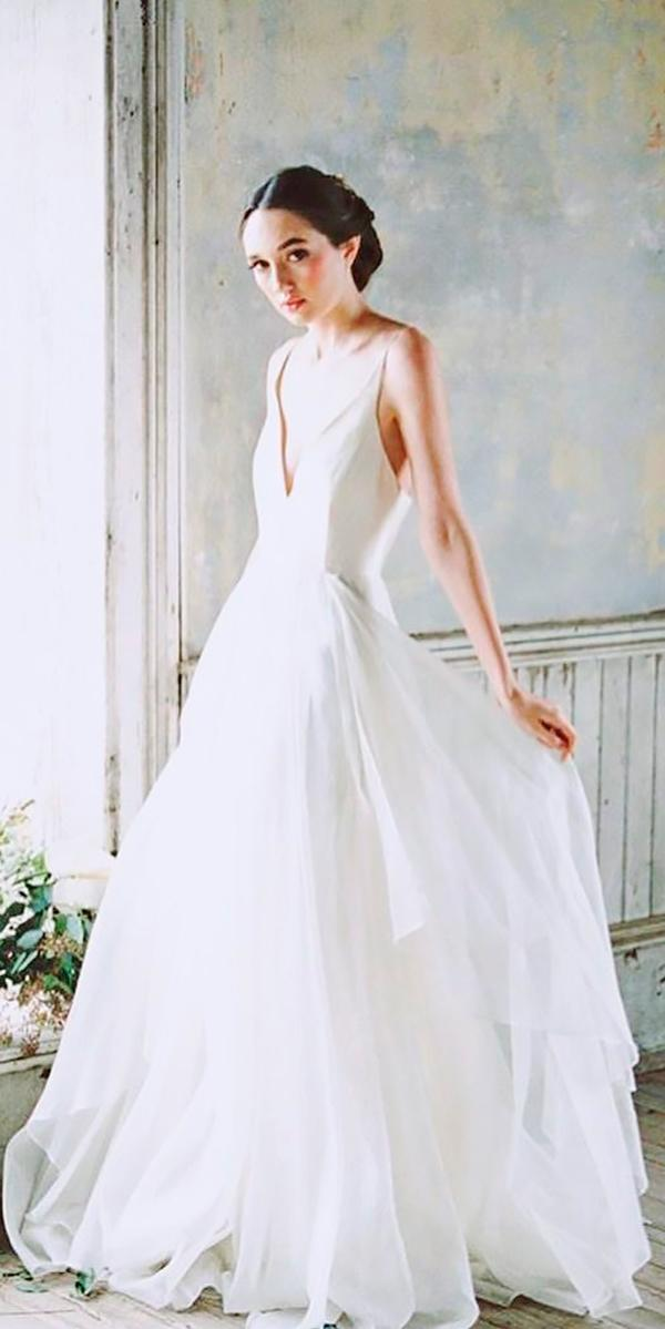 a line v neckline modest wedding dresses leanne marshall