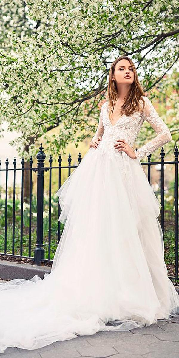 a line v neckline rustic wedding dresses with long sleeves monique lhuillier