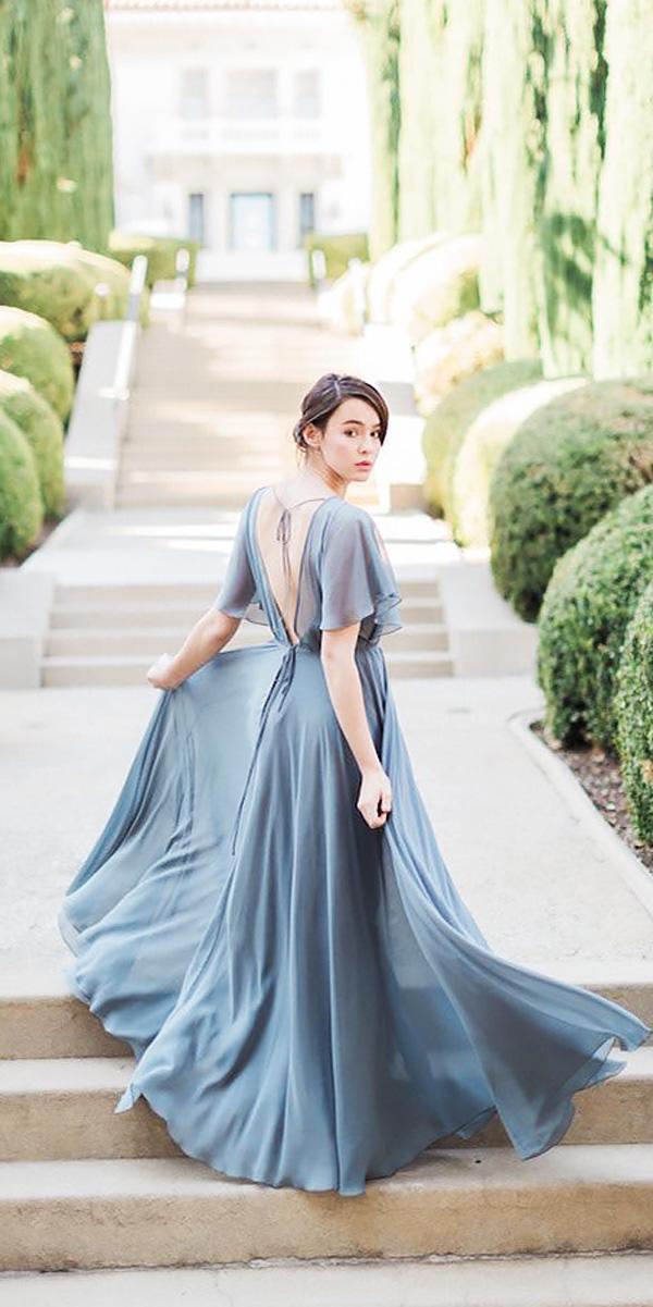 a line v shape back long bridesmaid dresses with sleeves jenny yoo