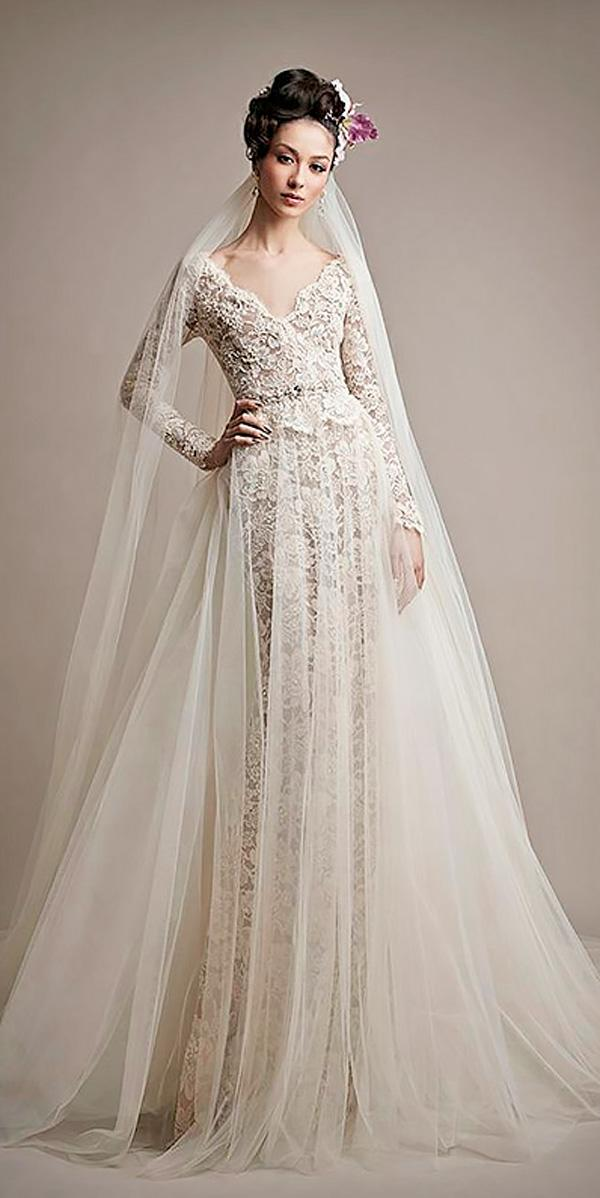 a line vintage v neckline wedding dresses with lace sleeves ersa atelier