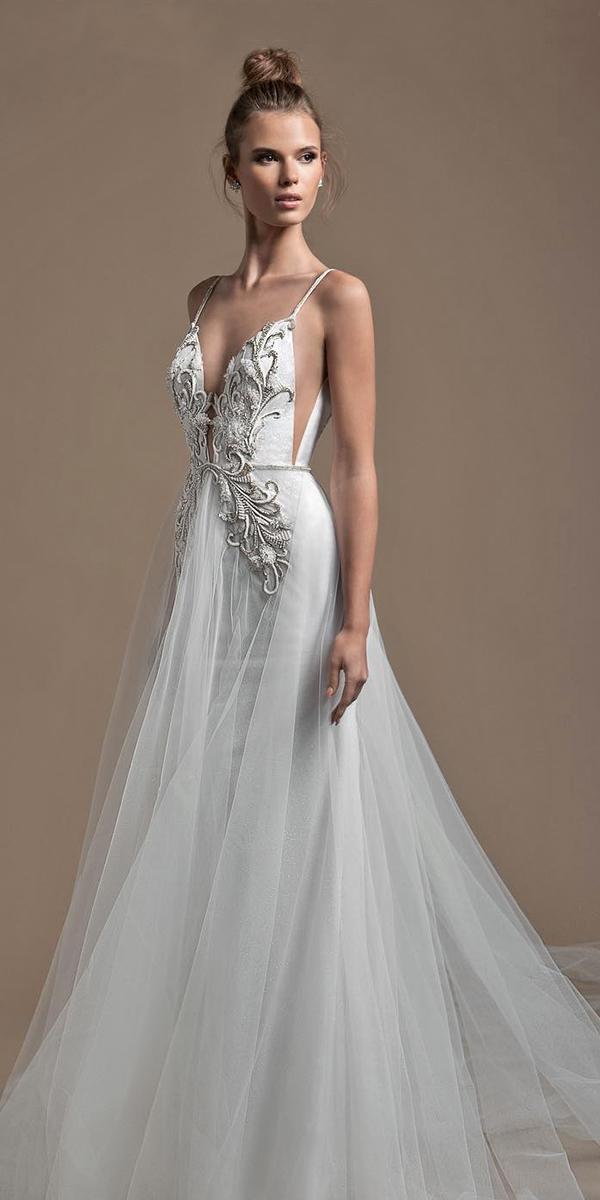 a line with embroidered lace and strap deepneckline elihav sasson wedding dresses
