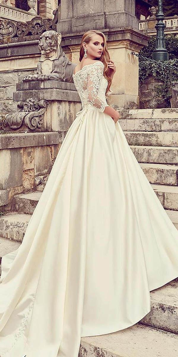 a line with long sleeves and chapel train armonia wedding dresses