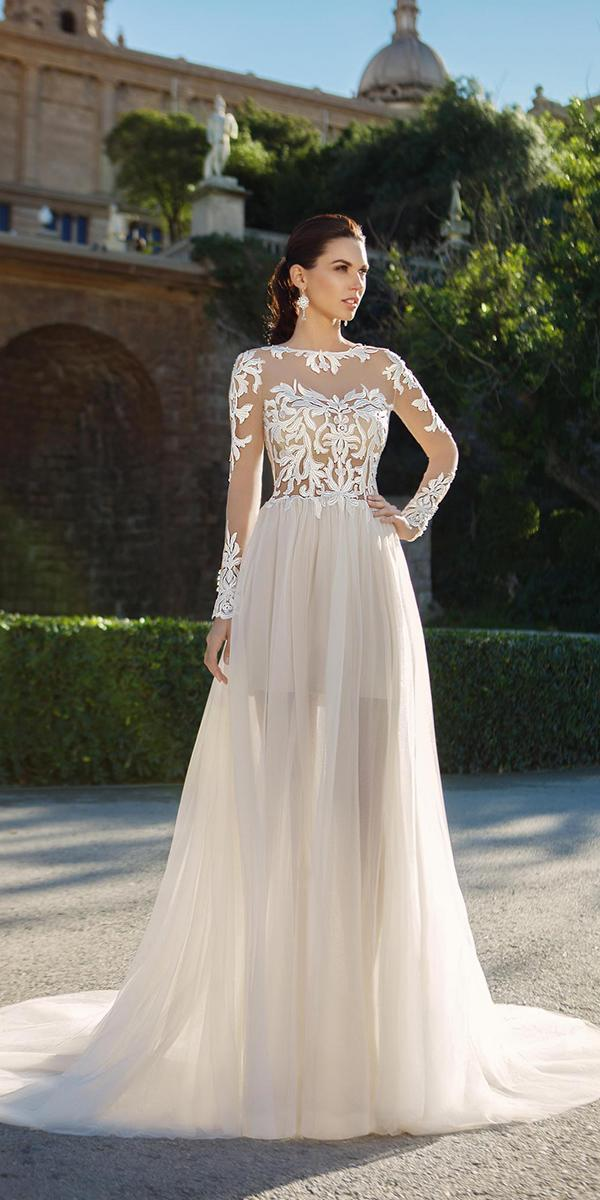 a line with tattoo effect and long sleeves and train ricca sposa wedding dresses