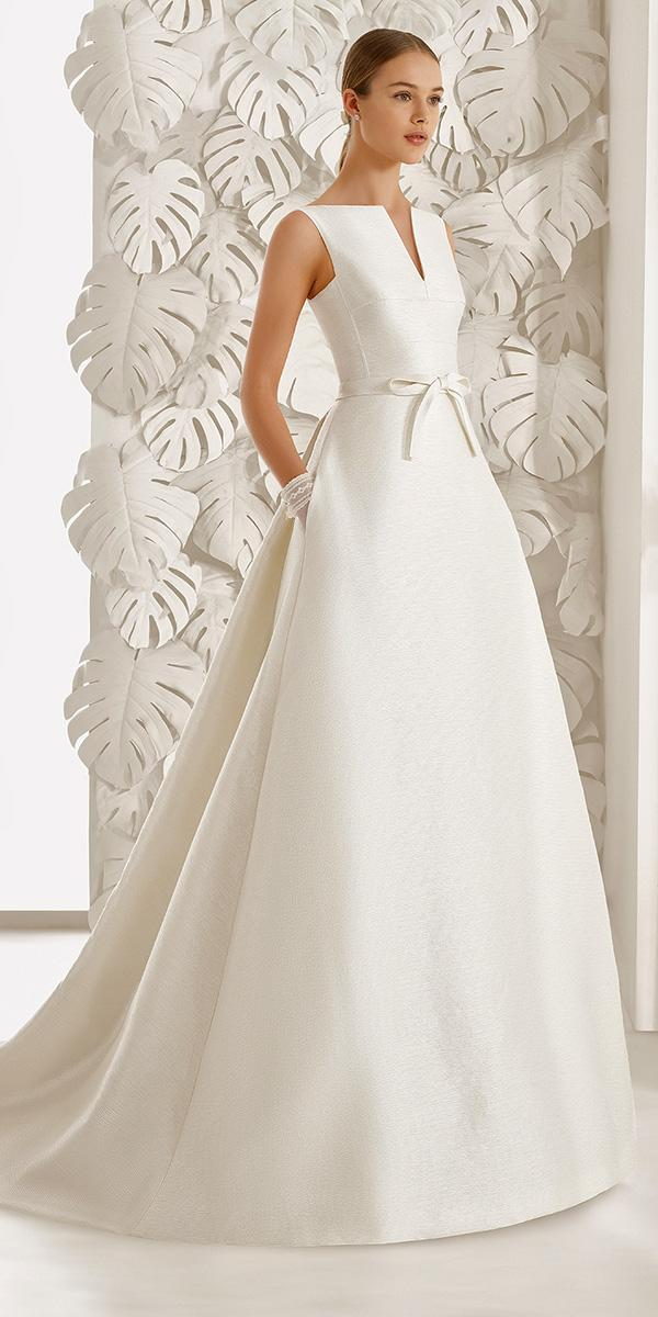 aline closed v nackline with belt rosa clara wedding dresses