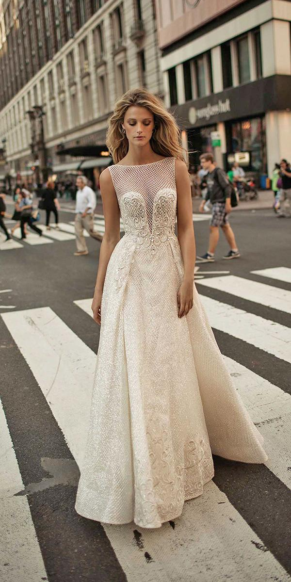 aline illusion bateau neckline with train berta bridal wedding dresses
