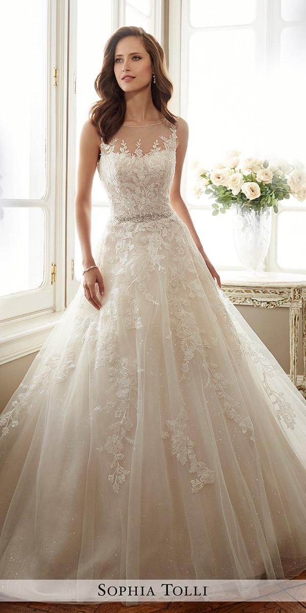 lace aline illusion necklines with rhinestone belt sophia tolli wedding dresses