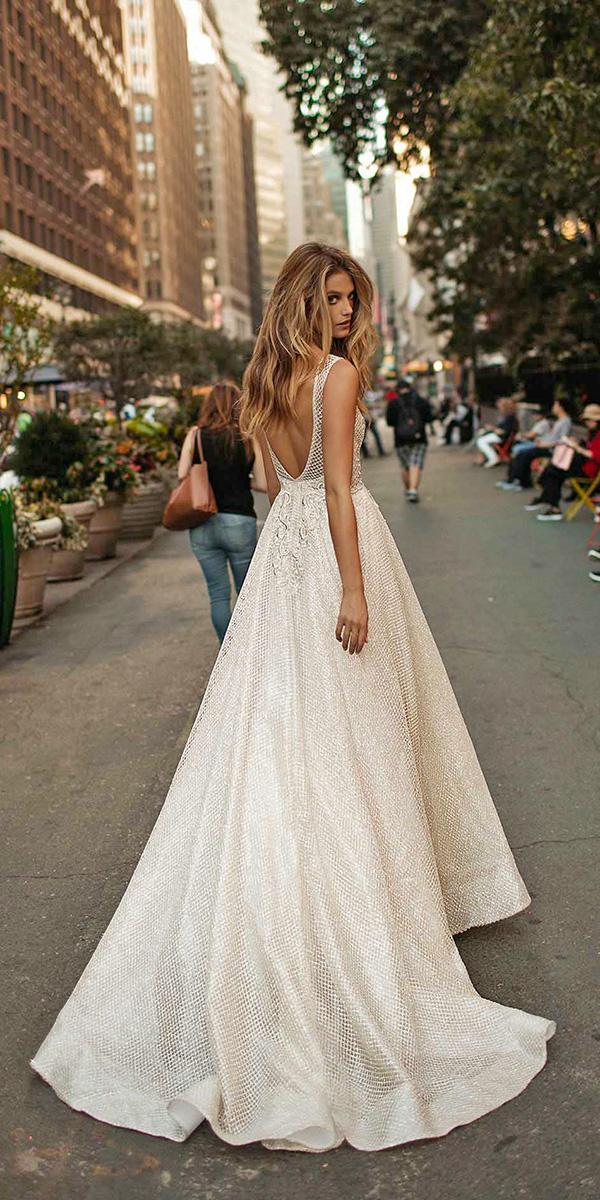 aline open back with train berta bridal wedding dresses