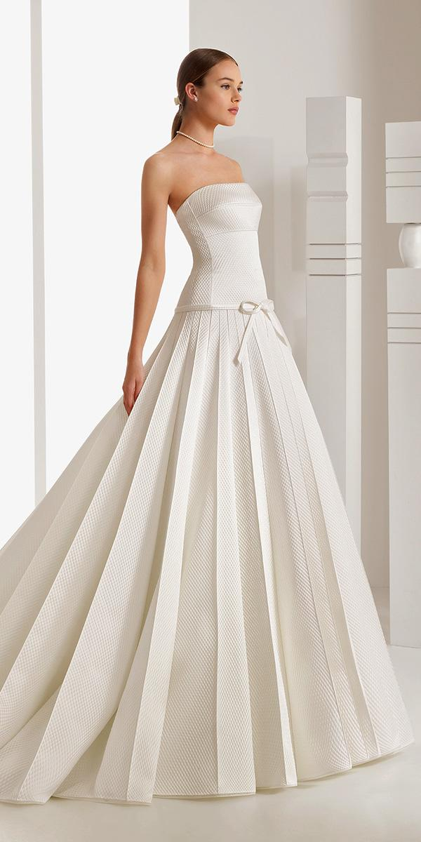 aline straight across nackline with belt rosa clara wedding dresses