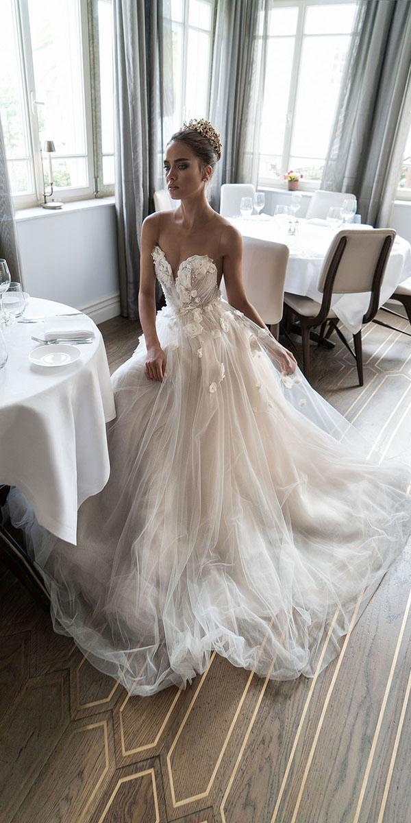aline sweatheart with floral detals elihav sasson wedding dresses