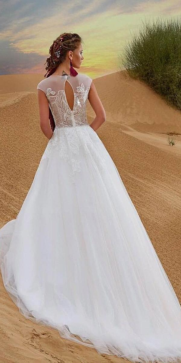 aline with cap sleeves and train armonia wedding dresses