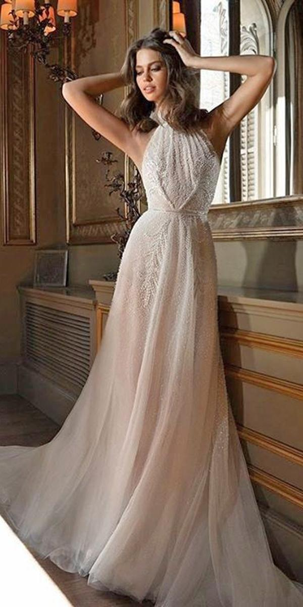 aline with embroidered lace and halter neckline elihav sasson wedding dresses